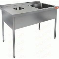Ванна моечная с отверстием для сбора отходов hicold ндсо1м-15/6бп